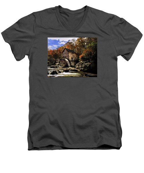 Men's V-Neck T-Shirt featuring the photograph Glade Creek Grist Mill by Mark Allen