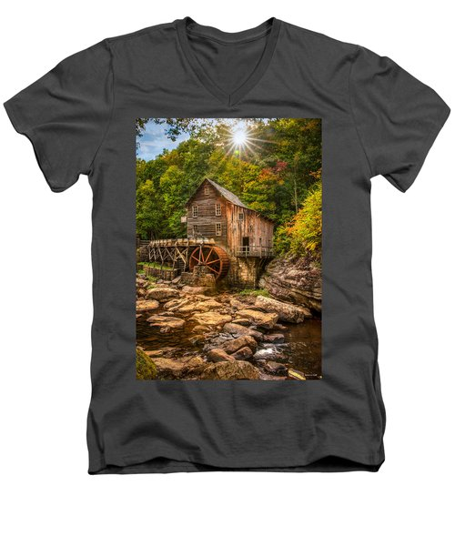 Glade Creek Mill Fall Men's V-Neck T-Shirt by Rebecca Hiatt