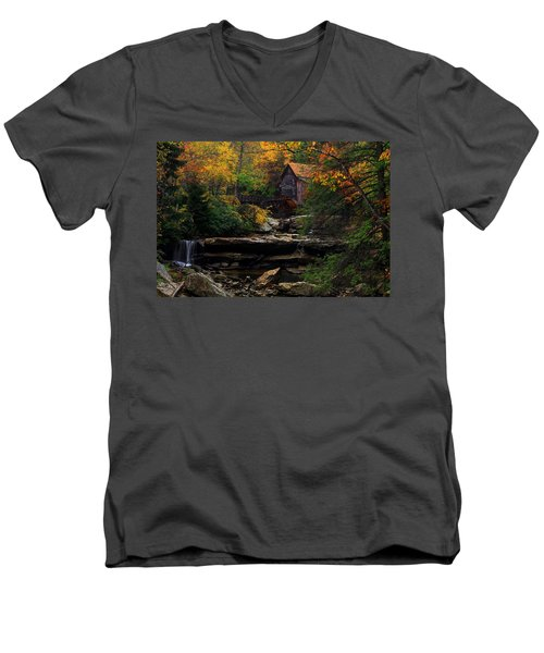 Glades Creek Grist Mill West Virginia Men's V-Neck T-Shirt
