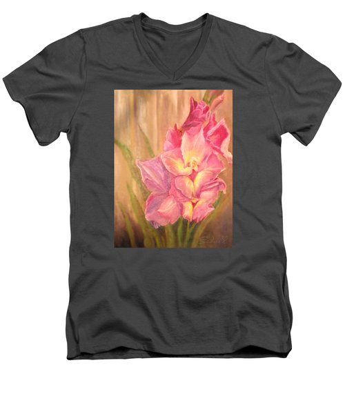 Men's V-Neck T-Shirt featuring the painting Gladiolas by Sherril Porter