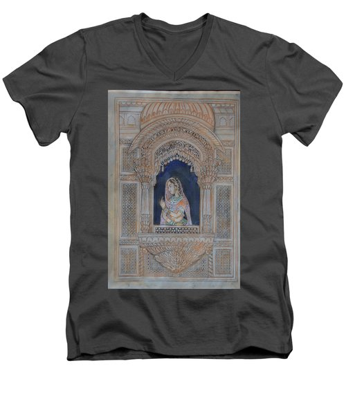 Men's V-Neck T-Shirt featuring the painting Glancing From Her Window by Vikram Singh