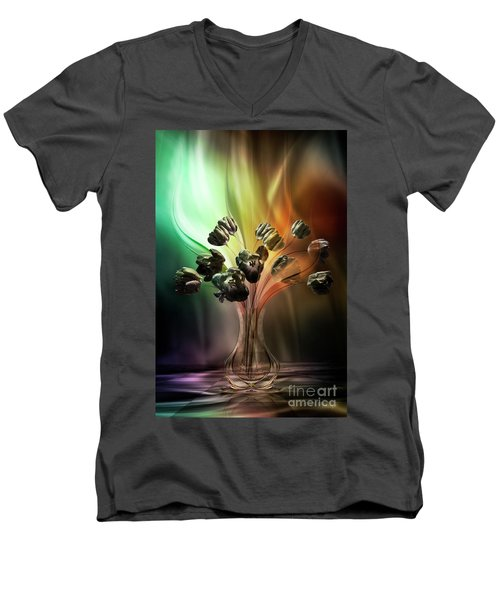 Men's V-Neck T-Shirt featuring the digital art Glasblower's Tulips by Johnny Hildingsson