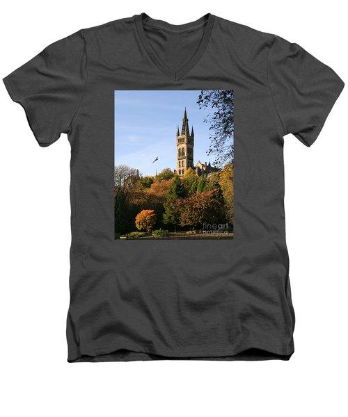 Glasgow University Men's V-Neck T-Shirt by Liz Leyden