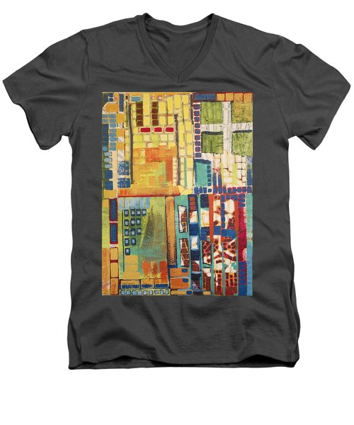 Men's V-Neck T-Shirt featuring the painting Glass Bottom Boeing by Donna Howard