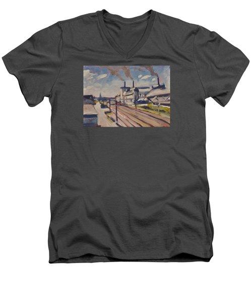 Glass Factory Along The Railway Track Men's V-Neck T-Shirt by Nop Briex