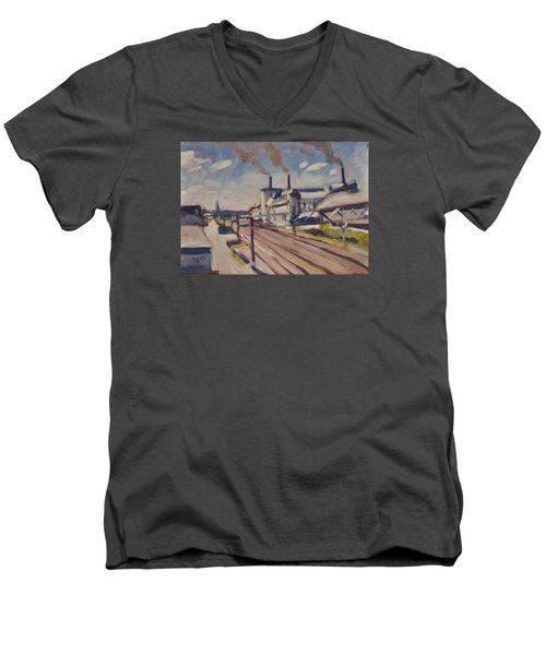 Glass Factory Along The Railway Track Men's V-Neck T-Shirt