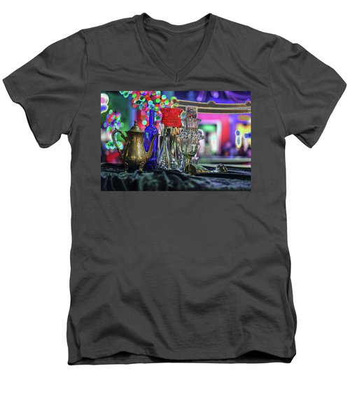 Glass In The Frame Of Colorful Hearts Men's V-Neck T-Shirt
