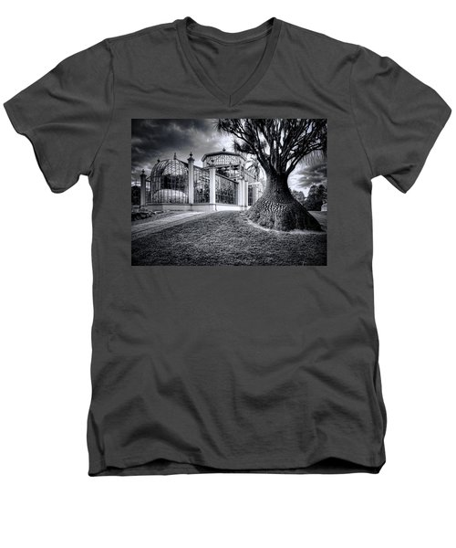 Glasshouse And Tree Men's V-Neck T-Shirt