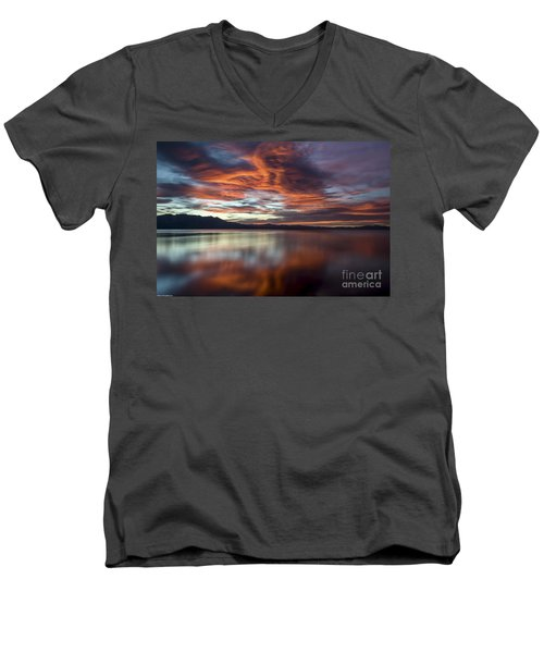 Men's V-Neck T-Shirt featuring the photograph Glassy Tahoe by Mitch Shindelbower