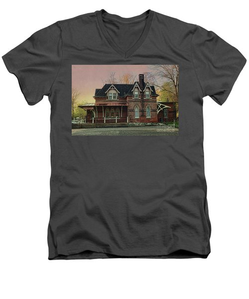 Men's V-Neck T-Shirt featuring the photograph Glen Mill Train Station by Judy Wolinsky