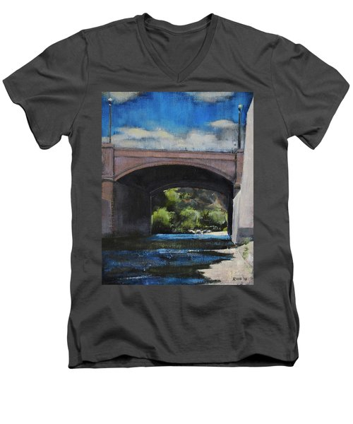 Glendale Bridge Men's V-Neck T-Shirt by Richard Willson