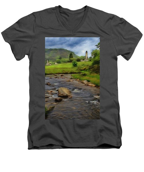 Men's V-Neck T-Shirt featuring the painting Glendalough In The Distance by Jeff Kolker
