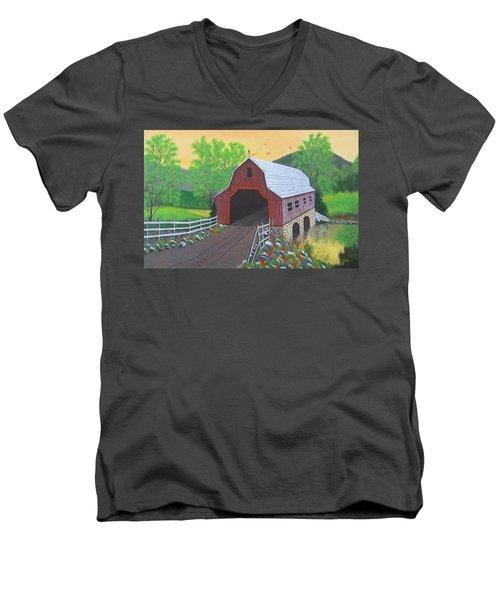 Glenda's Covered Bridge Men's V-Neck T-Shirt