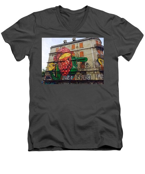 Men's V-Neck T-Shirt featuring the painting Globe Building Art Painting by Sheila Mcdonald