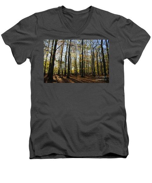 Men's V-Neck T-Shirt featuring the photograph Glorious Forest by Kennerth and Birgitta Kullman
