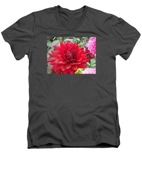 Glory Crimson Dahlia  Men's V-Neck T-Shirt