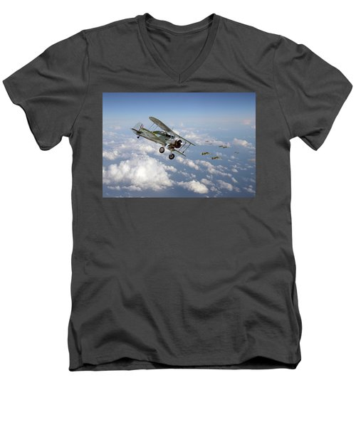 Men's V-Neck T-Shirt featuring the digital art  Gloster Gladiator - Malta Defiant by Pat Speirs