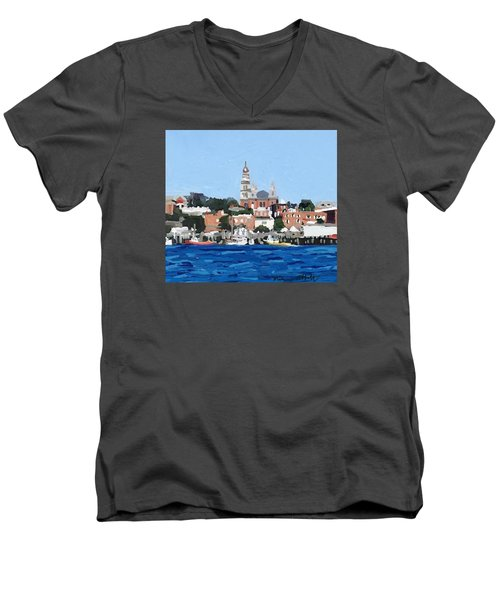 Gloucester City Hall From Inner Harbor Men's V-Neck T-Shirt