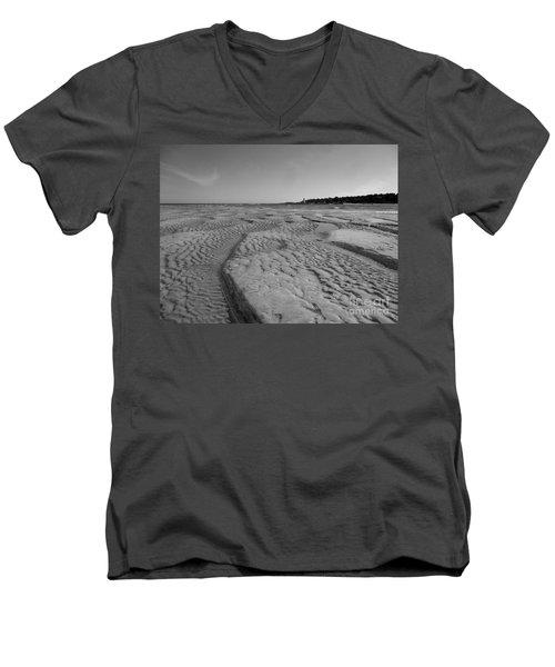 Gloucester Lighthouse Monocrhome Men's V-Neck T-Shirt by Barbara Bardzik