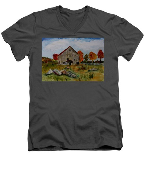 Men's V-Neck T-Shirt featuring the painting Glover Barn In Autumn by Donna Walsh