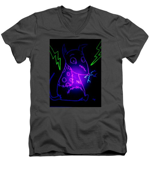 Glow Frankenweenie Sparky Men's V-Neck T-Shirt by Marisela Mungia