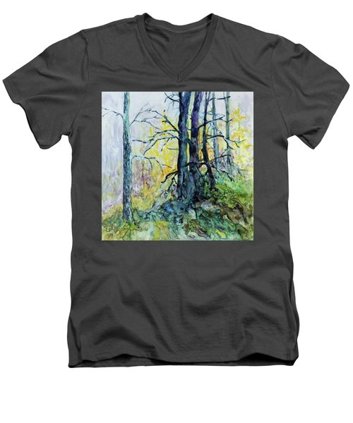 Men's V-Neck T-Shirt featuring the painting Glow From The Tamarack by Joanne Smoley