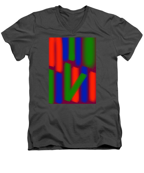 Men's V-Neck T-Shirt featuring the digital art Glow Sticks by Karen Nicholson
