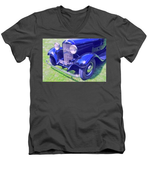 Glowing Blue Men's V-Neck T-Shirt