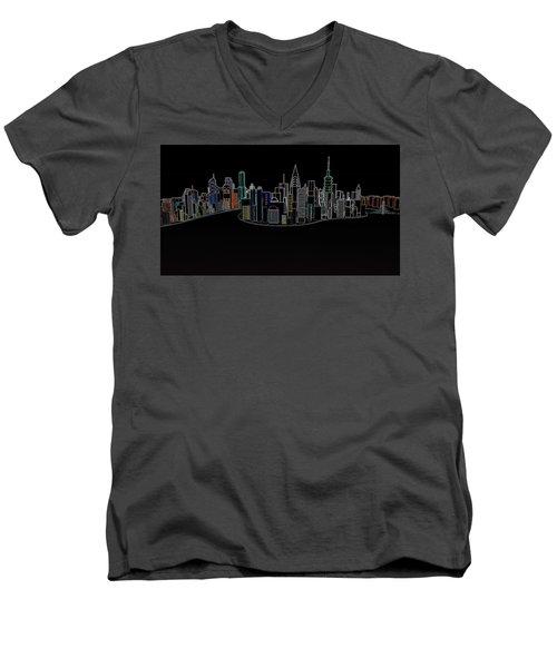 Glowing City Men's V-Neck T-Shirt by Thomas M Pikolin