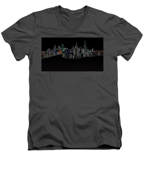 Glowing City Men's V-Neck T-Shirt