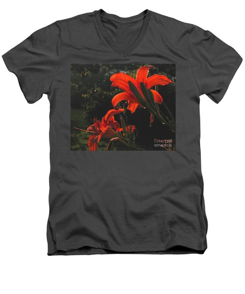 Men's V-Neck T-Shirt featuring the photograph Glowing Day Lilies by Donna Brown