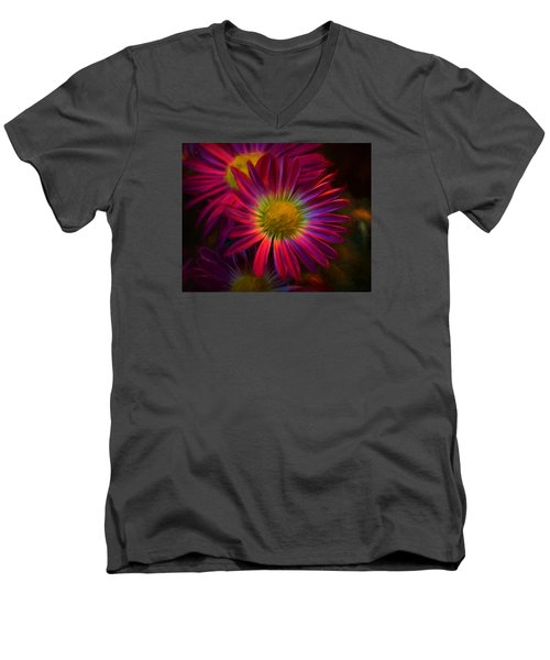 Glowing Eye Of Flower Men's V-Neck T-Shirt by Lilia D