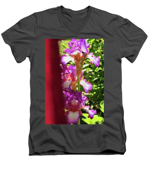 Glowing Iris Tower - Behind The Red Curtain Men's V-Neck T-Shirt