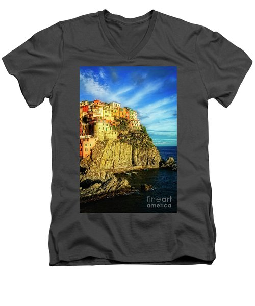 Glowing Manarola Men's V-Neck T-Shirt