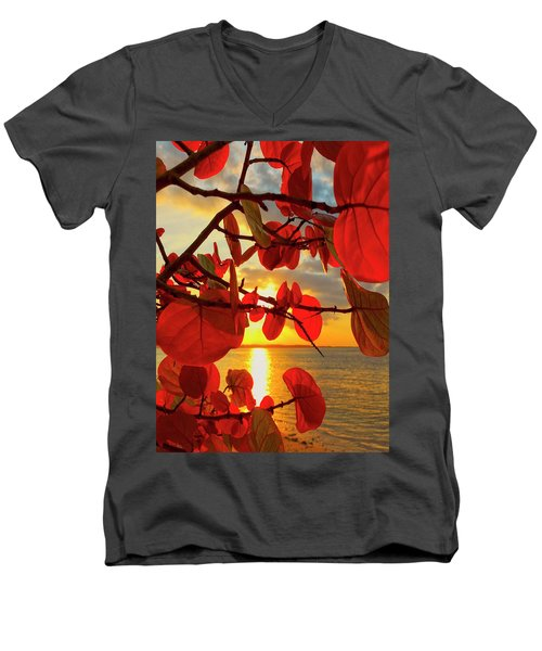 Glowing Red Men's V-Neck T-Shirt
