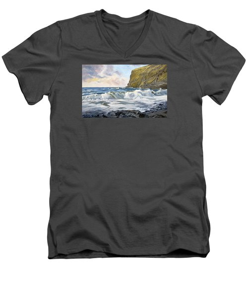 Men's V-Neck T-Shirt featuring the painting Glowing Sky At Pencannow Point by Lawrence Dyer