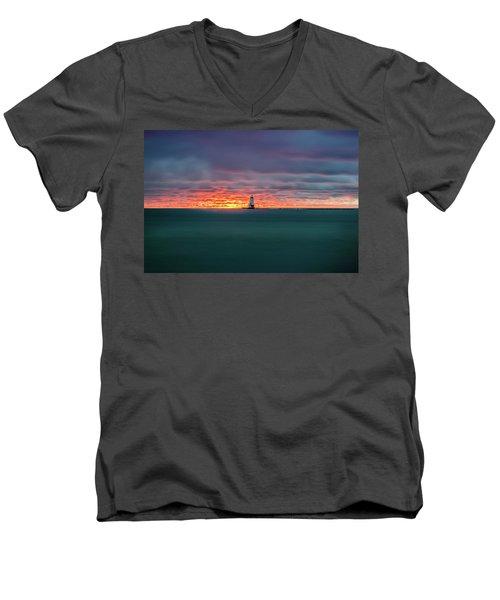 Glowing Sunset On Lake With Lighthouse Men's V-Neck T-Shirt