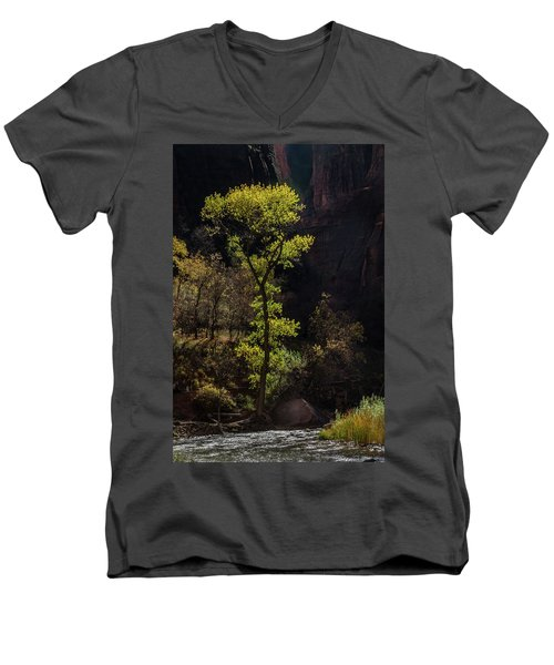 Glowing Tree At Zion Men's V-Neck T-Shirt