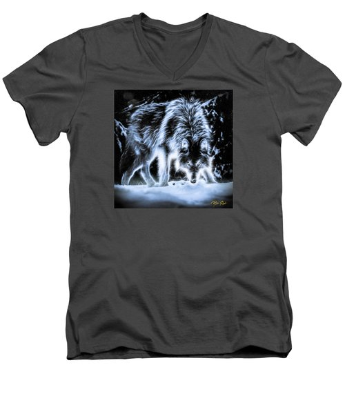 Men's V-Neck T-Shirt featuring the photograph Glowing Wolf In The Gloom by Rikk Flohr