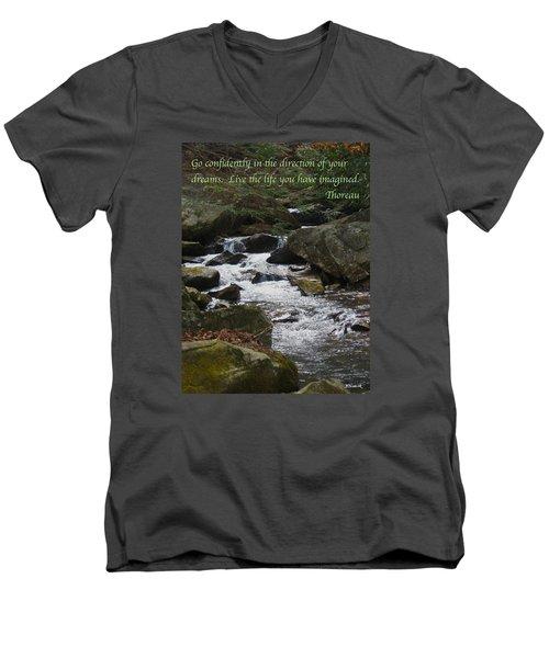 Go Confidently Men's V-Neck T-Shirt by Deborah Dendler