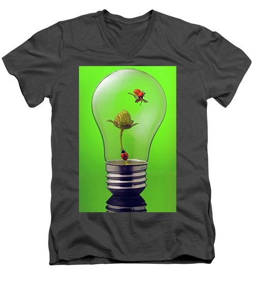 Go Green Men's V-Neck T-Shirt by William Lee