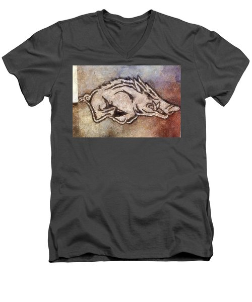 Go Hogs Go  Men's V-Neck T-Shirt by Dawn Bearden