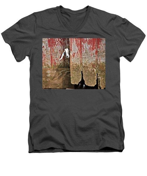 Goat And Old Barn Door Men's V-Neck T-Shirt