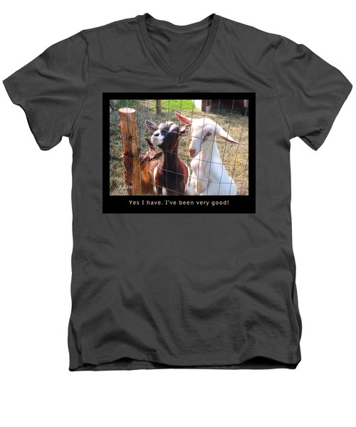 Goats Poster Men's V-Neck T-Shirt by Felipe Adan Lerma