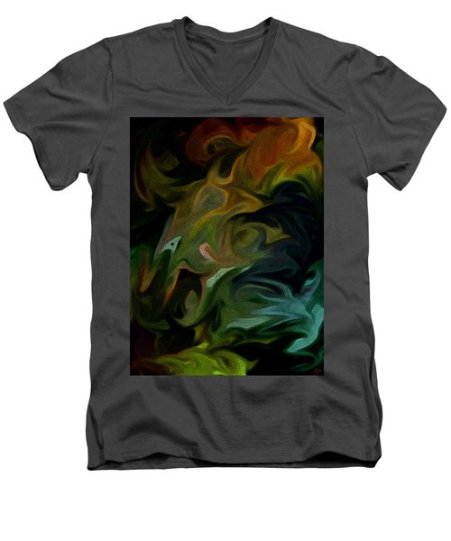 Men's V-Neck T-Shirt featuring the painting Goblinz Abstract by Sheila Mcdonald