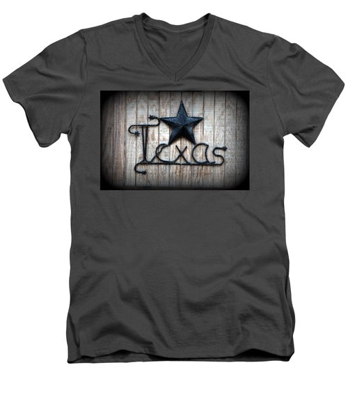 Men's V-Neck T-Shirt featuring the photograph God Bless Texas by Kathy  White