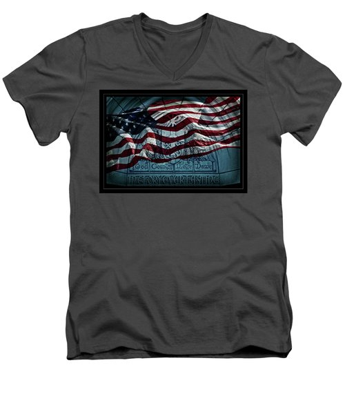 God Country Notre Dame American Flag Men's V-Neck T-Shirt