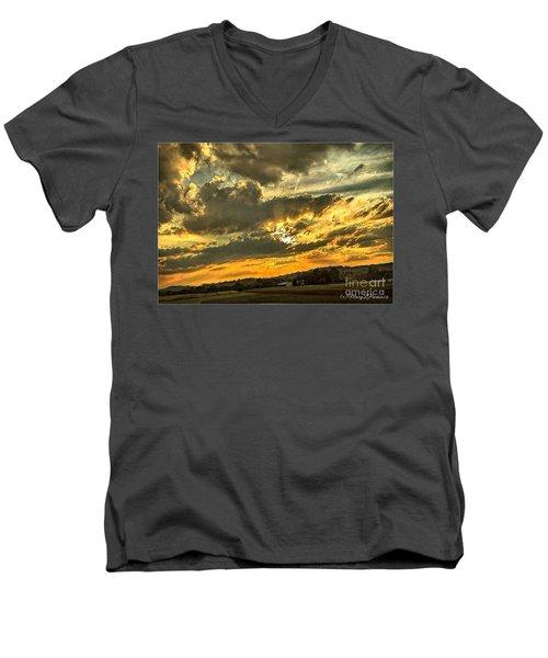God Hand Men's V-Neck T-Shirt by MaryLee Parker