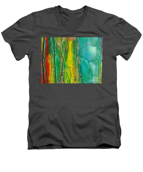 God Has Moved  Into The Neigborhood Men's V-Neck T-Shirt by Dan Whittemore