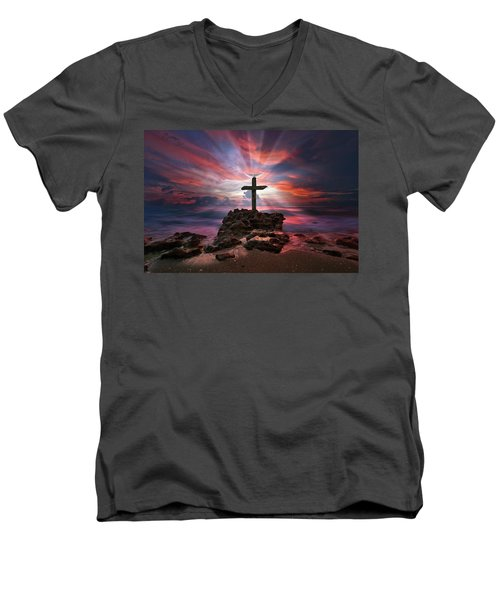 God Is My Rock Special Edition Fine Art Men's V-Neck T-Shirt